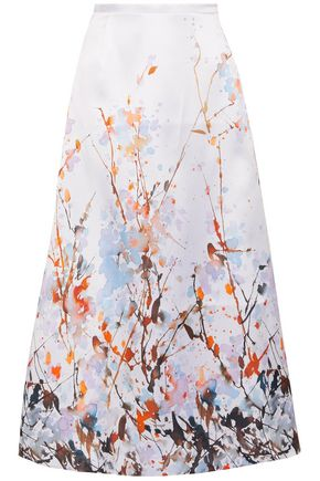 MERCHANT ARCHIVE Printed duchesse satin midi skirt