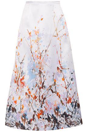 MERCHANT ARCHIVE Printed duchesse-satin midi skirt