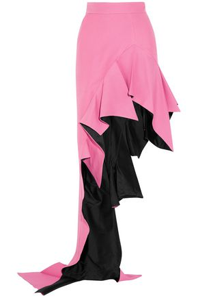 RONALD VAN DER KEMP Asymmetric ruffled wool and silk-blend maxi skirt