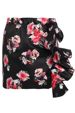 MSGM Ruffled floral-print satin mini skirt