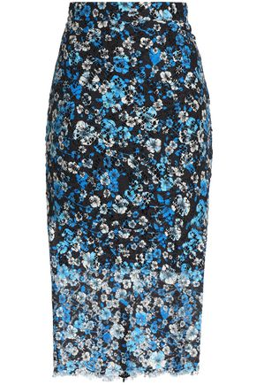 MSGM Floral-print cotton-blend lace midi skirt