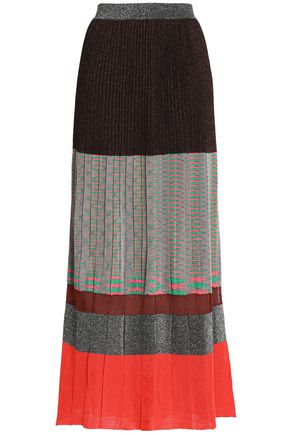 MISSONI Pleated metallic color-block knitted maxi skirt