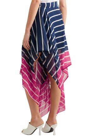 PREEN by THORNTON BREGAZZI Eames asymmetric striped two-tone silk-chiffon skirt
