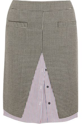 WANDA NYLON Houndstooth wool-blend tweed and striped cotton-poplin midi skirt