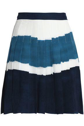 REDValentino Pleated printed silk mini skirt