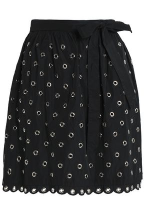 REDValentino Eyelet-embellished canvas wrap skirt