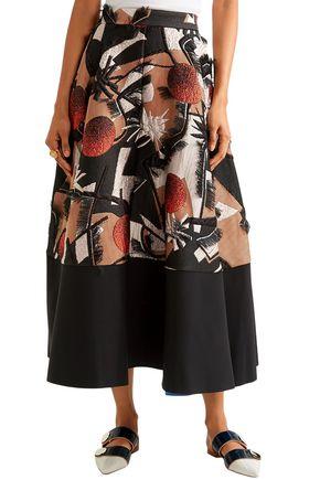 ROKSANDA Fringed silk-blend jacquard midi skirt