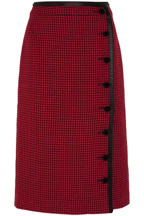 ALTUZARRA Christofor silk satin-trimmed houndstooth wool skirt