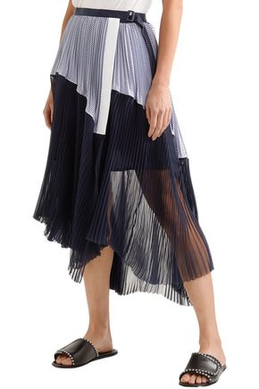 SACAI Striped poplin-paneled pleated chiffon midi wrap skirt