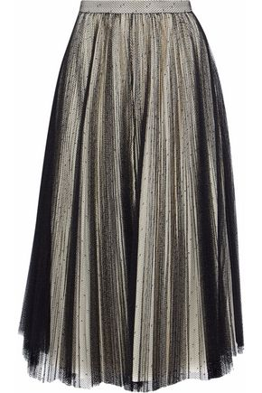 PHILOSOPHY di LORENZO SERAFINI Pleated point d'esprit midi skirt