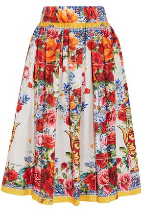 DOLCE & GABBANA Pleated floral-print silk-twill midi skirt