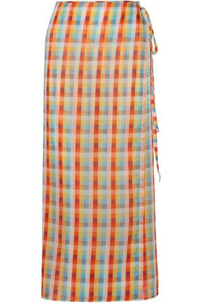 MIU MIU Checked cotton-voile midi wrap skirt