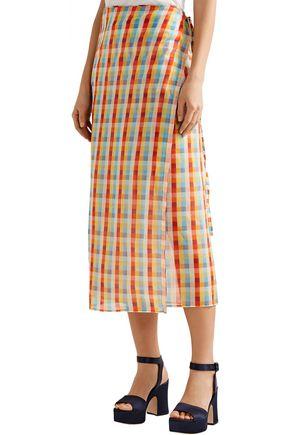MIU MIU Checked cotton-voile midi wrap skirt