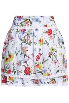 NICHOLAS Layered embroidered floral-print cotton mini skirt