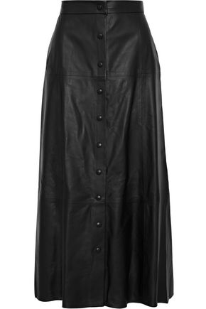 IRIS & INK Lena leather midi skirt