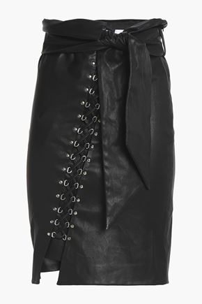 IRO Belted lace-up leather skirt
