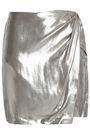 IRO Shanina wrap-effect lamé mini skirt