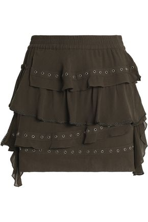 IRO Eyelet-embellished tiered crepe mini skirt