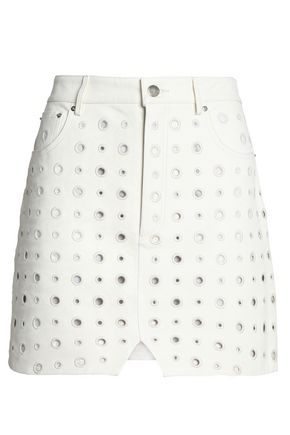 IRO Broderie anglaise leather mini skirt