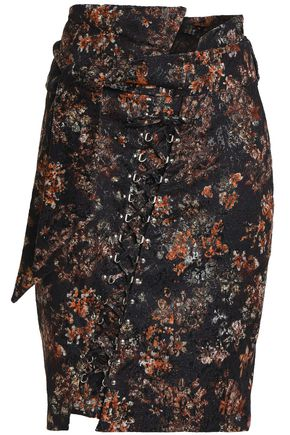 IRO Lace-up metallic jacquard skirt