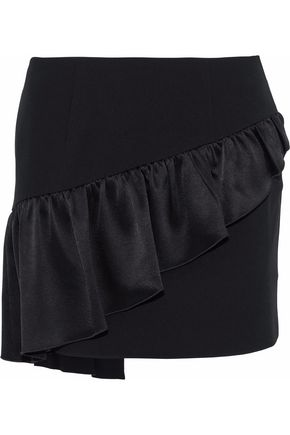 CINQ À SEPT Ruffled satin-paneled crepe mini skirt