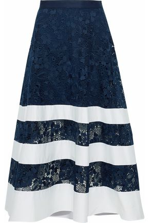 BADGLEY MISCHKA Poplin-paneled guipure lace midi skirt