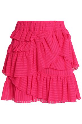 IRO Glowie ruffled cotton-blend point d'esprit mini skirt