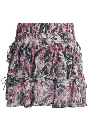 IRO Tiered printed crepe de chine mini skirt