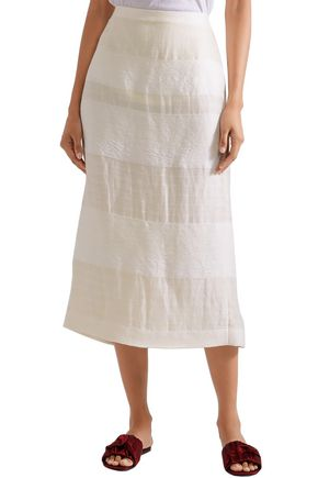 THE ROW Odille paneled linen and silk-blend midi skirt