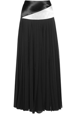 LANVIN Jupe satin-paneled pleated chiffon maxi skirt