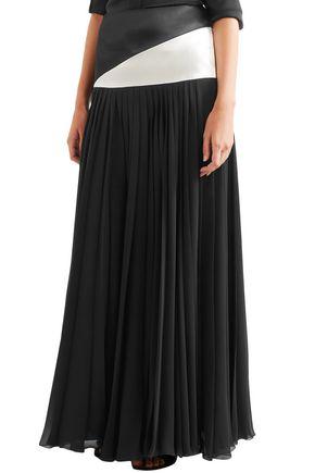 LANVIN Jupe satin-paneled pleated chiffon maxi skirt