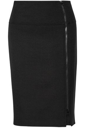 TOM FORD Zip-detailed wool-blend skirt