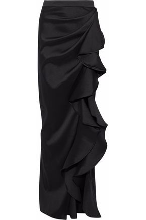 BADGLEY MISCHKA Ruffled satin-twill maxi skirt