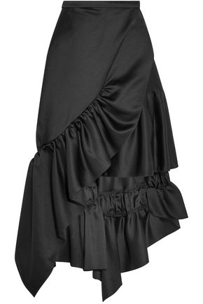 KOCHÉ Wrap-effect ruffled satin-crepe skirt