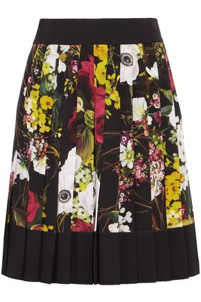 DOLCE & GABBANA Pleated floral-print silk-blend mini skirt