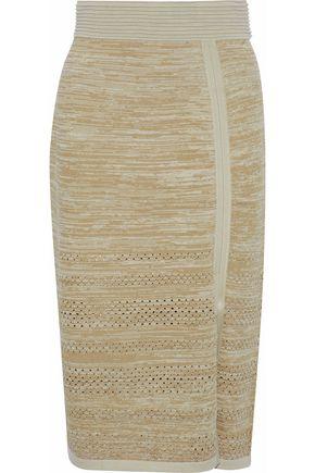 HOUSE OF DAGMAR Salla metallic pointelle-trimmed knitted skirt