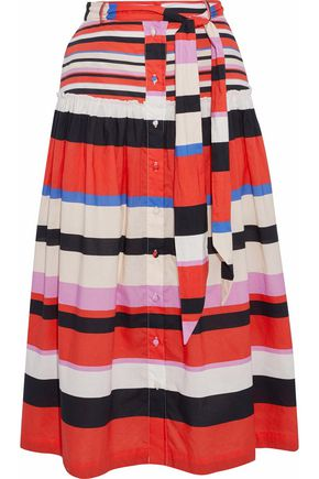 NICHOLAS Amalfi striped ruffle-trimmed cotton-poplin midi skirt