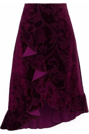 LANVIN Asymmetric ruffled velvet-jacquard skirt