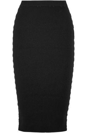 MUGLER Embellished ribbed-knit pencil skirt