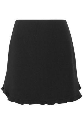 MIU MIU Ruffle-trimmed crepe mini skirt
