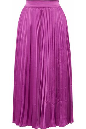 CO Pleated satin midi skirt