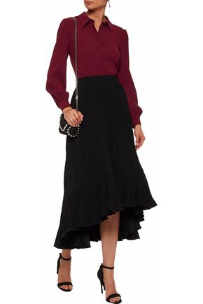 CO Pleated crepe midi skirt