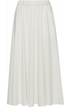 CO Gathered crepe midi skirt
