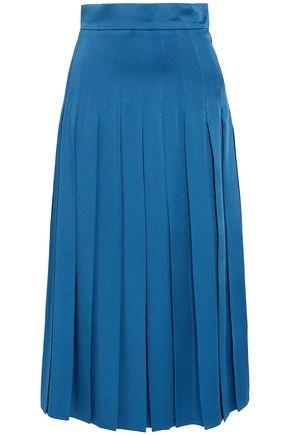 FENDI Pleated satin-crepe midi skirt