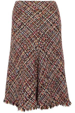 ALEXANDER MCQUEEN Fringed tweed skirt
