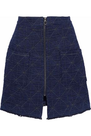 SEA Frayed quilted cotton-blend chambray mini skirt
