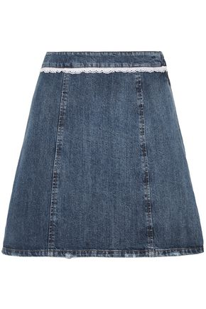 MIU MIU Lace-trimmed distressed denim mini skirt