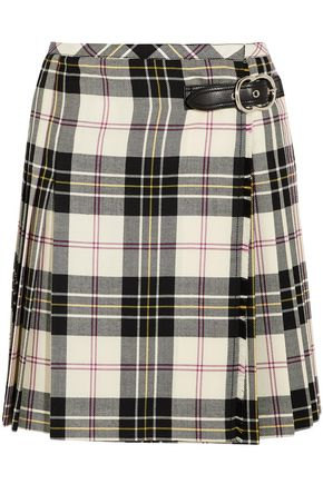 MIU MIU Buckled pleated checked wool wrap skirt