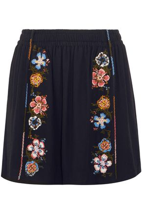 CHLOÉ Embroidered crepe mini skirt