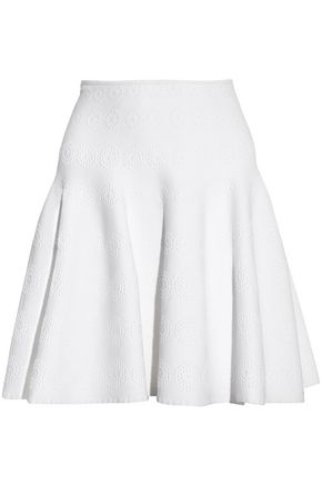 ALAÏA Fluted jacquard-knit mini skirt